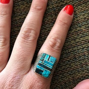 Turquoise Collage Ring~ Sterling Silver